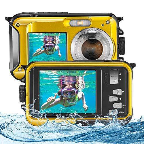 Vogvigo Fotocamera Subacquea, Full HD 2.7K 48MP Snorkeling Doppio Schermo Macchina Fotografica Bambini Zoom Digitale 16X Anti Shak Digitale Fotocamera Impermeabile con Microfono e LED (Giallo)