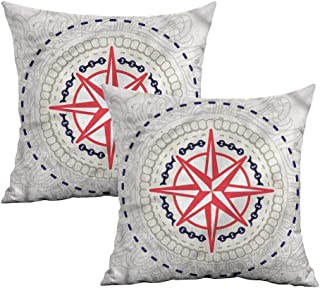 Khaki home Compass Square Standard Pillowcase Windrose Marine Symbols Square Throw Pillow Covers Cushion Cases Pillowcases for Sofa Bedroom Car W 20