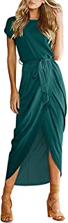 AUSELILY Women's Casual Summer Cap Short Sleeve Loose Slit Solid Party Long Maxi Dress with Belt (16/18, Dark Green)