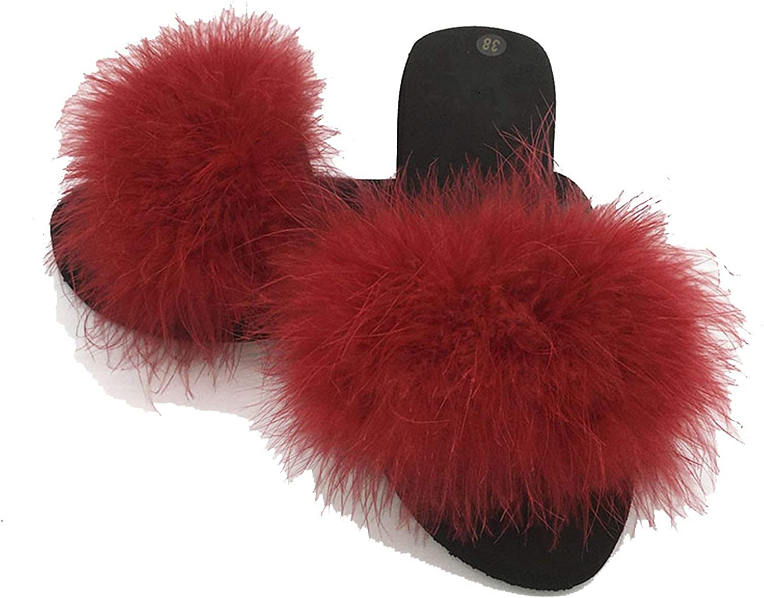 Slides Women Home Slippers Feathers Fluffy 44 Sweet Sandals Beach shoes Sliders Fl,