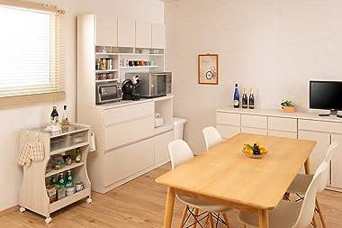 やさしい木目×ラインガラスがお洒落なオールインワンキッチンボード (ホワイト, 幅120)