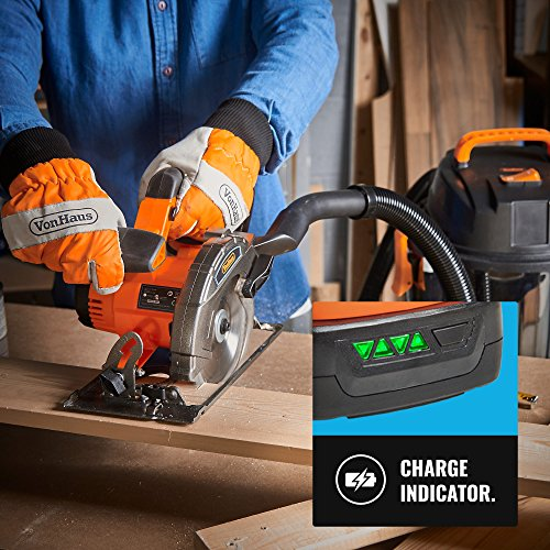 VonHaus Cordless Circular Saw with 3.0Ah Li-ion 20V MAX Battery, Charger, 1 x 165mm / 6 ½' TCT Tip Blade & Power Tool Bag - Includes Ergonomic Rubber Grip & Variable Cutting Angle/Depth