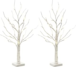 Vanthylit 2FT 24LT Pre-lit White Birch Tree Decorative Light Tabletop-2PK