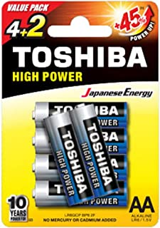 TOSHIBA High Power Alkaline AA - 4+2 Battery Pack