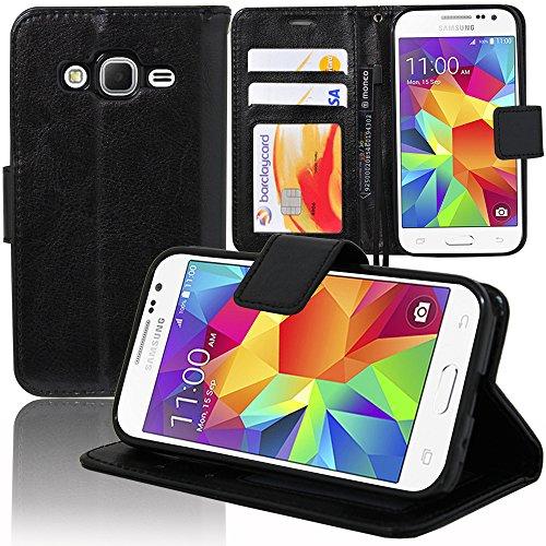 VCOMP Cover Custodia Portafoglio Supporto Video a Libro Falda Pelle PU per Serie Samsung Galaxy - Nero, Samsung Galaxy Core Prime SM-G360F G361F