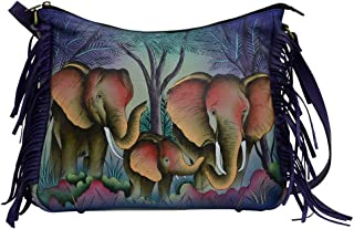 Anna by Anuschka Leather Hobo Shoulder Hand Painted Handbag & Purse Holder Bundle
