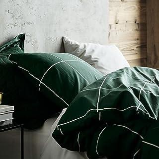 Sedefen Housse de Couette 220x240cm + 2 x Taies d'oreiller 65x65cm,à Carreaux Géométrique Vert foncé avec Fermeture Éclair...
