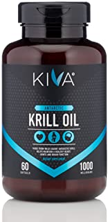 Kiva Pure Antarctic Krill Oil (60 Softgels)- 1000 mg, High Concentration with Astaxanthin (Heavy Metal and PCBs Tested) Om...