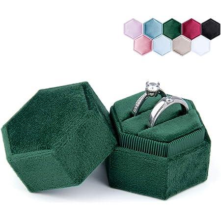 Vintage ring box Wedding gift Octagonal ring box Velvet box Velvet ring box Sky