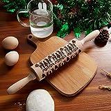 Rodillo Amasar Madera, Navidad Rodillo Galletas, Rodillo de Cocina con Relieve, Rolling Pin...