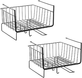 YASEE CHOICE Under Shelf Basket, Under Shelf Wire Basket With Hook Stable Under Cabinet Storage Basket for Kitchen Office ...