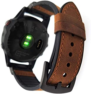 YOOSIDE for Fenix 5 Watch Band, 22mm Quick Fit Sweatproof Genuine Leather and Silicone Hybrid Watch Band Strap for Garmin ...