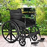 Gymax Foldable Wheelchair, Medical Transport Wheelchair FDA Approved, with Footrest and Carry Pockets, 19.6'X16.1'Seat