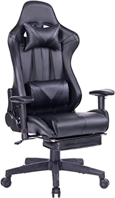 BOSMILLER Gaming Chair PC Computer Game Chair with Footrest Racing Gamer Chair Ergonomic Office Chair High-Back PU Leather Computer Desk Chair with Lumbar Cushion and Headrest (8192Black)