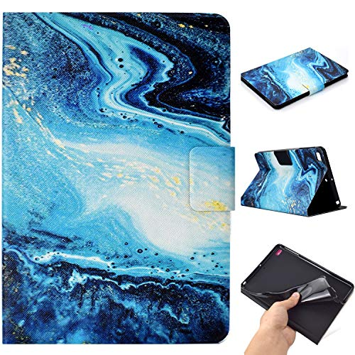 MOKASE iPad Mini Case, Mini 2/3/4/5 Case, Leather Smart Kickstand Case Cover Colorful Flip Wallet Protective Case for iPad Mini 1 2 3 4 5-Blue Marble