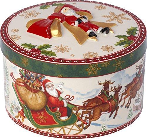 Villeroy & Boch 14-8327-6616 Boîte Paquet cadeau Ronde de Taille Moyenne Christmas Toys Motif Vol Du Père Noël, Porcelain, Burnt, 21 x 15,5 x 22 cm