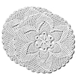 gracebuy Pack of 2 PCS 11 Inch White Round Handmade Crochet Lace Tablecloth Doilies