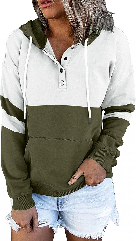 UOCUFY Hoodies for Women, Womens Long Sleeve Hoodies Tops Color Block Drawstring Hooded Pocket Casual V Neck Sweatshirts