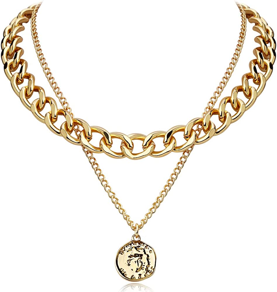 FAMARINE Gold Choker Layered Ranking TOP12 Necklace Max 61% OFF Geometr for Fashion Women