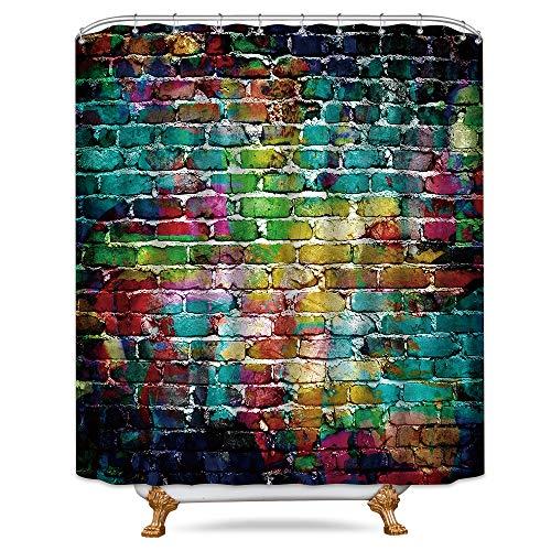 Riyidecor Colorful Brick Wall Shower Curtain Hip Hop Graffiti Colorful Rainbow Painting Decor Fabric Bathroom Polyester Waterproof 72x72 Inch 12-Pack Plastic Hooks
