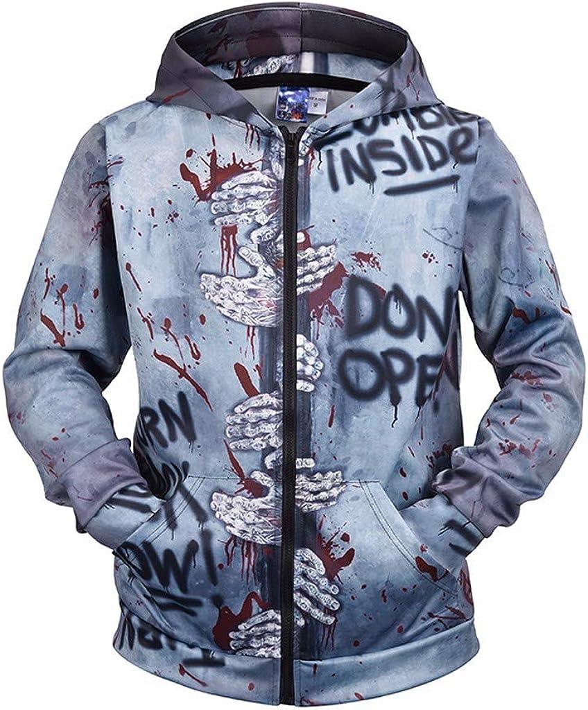 FORUU Men's Zip Sweatshirts Hooded,Comfy Soft Windproof Personality Simple Fashion Print Long Sleeve Lightweight Coat