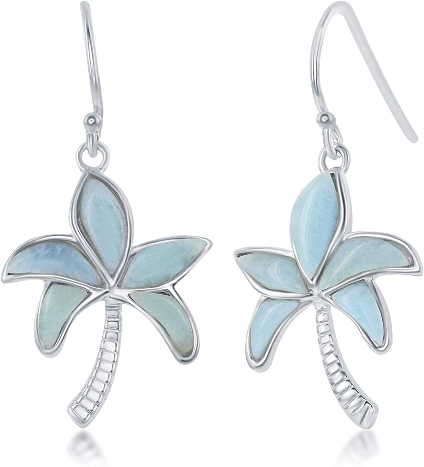 Sterling Max New products, world's highest quality popular! 86% OFF Silver Natural Larimar Earrings Tree Palm