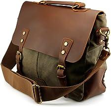 Sponsored Ad - GEARONIC Genuine Leather Canvas Messenger Vintage Satchel Shoulder Bag for School Laptop