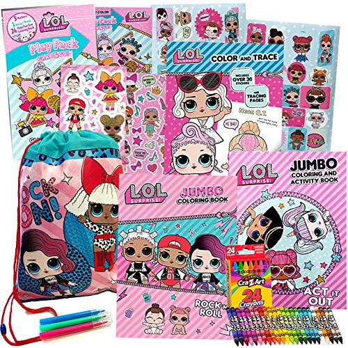LOL Surprise Activity Toy Set for Girls by ColorBoxCrate 7 Pack Includes 3 LOL Surprise Dolls Coloring Books, LOL Surprise Dolls Toys, 70 LOL Dolls Stickers, Play Pack, Crayons and More, Ages 3 to 10