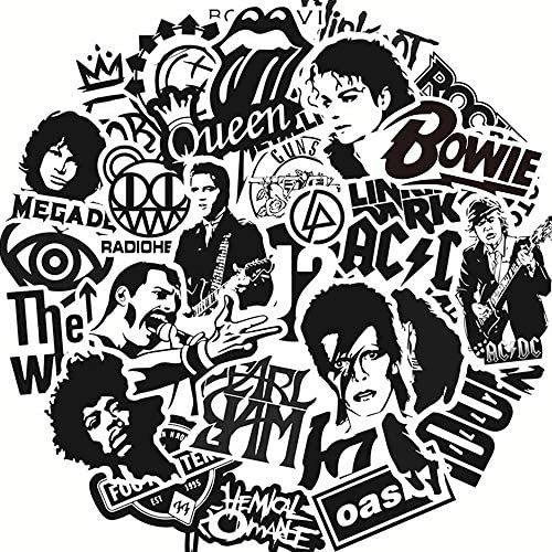 Rock Band Music Vinyl Stickers Pack 50pcs Black and White Stickers Decals Laptop Cars Guitar product image