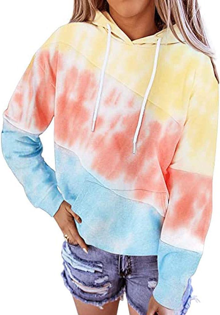 POTO Womens Pullover Hoodies Gradient Color Block Crop Tops Long Sleeve Sweatshirt Tee Shirts Casual Tops with Pocket