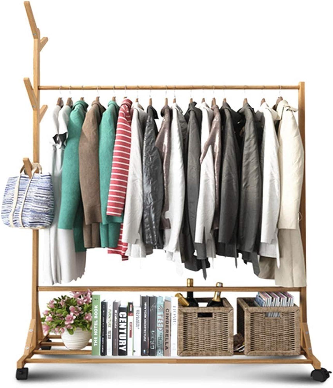 Standing Coat Racks Coat Rack Simple Bedroom Hanger Diagonal Reinforcement Economical Mobile Rack Bamboo Home Clothes Pants Rack -0223