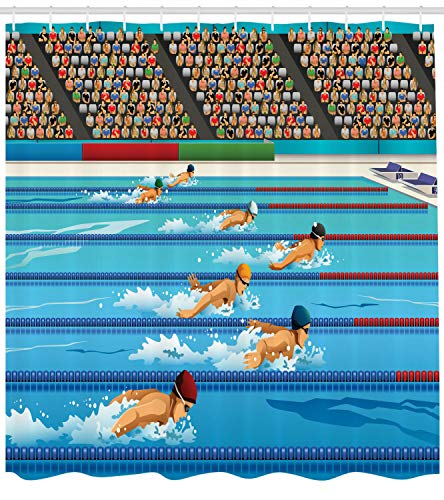 123456789 Cartoon douchegordijn Olympische Spelen Zwemmen Race Print voor Badkamer