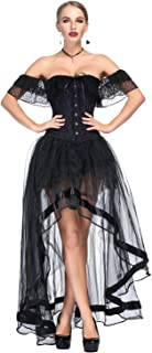 Kimring Women's Steampunk Costume Victorian Overbust Corset Top with Skirt Set