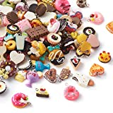 Beadthoven - 100 colgantes de resina con temática de alimentos mezclados al azar para tartas y helados, postre y perlas para hacer manualidades