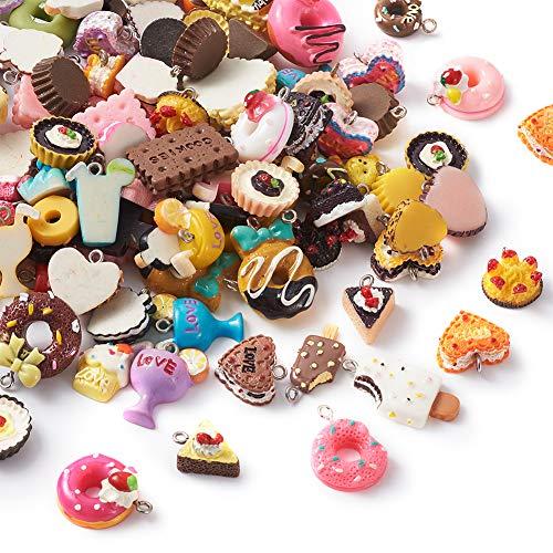 Beadthoven - 100 ciondoli in resina a tema alimentare, misti casuali per torte, gelati, dessert, melma per gioielli fai da te