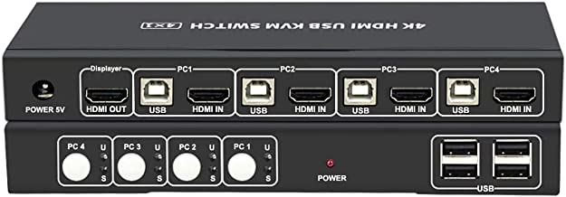 HDMI KVM Switch 4 Port with Hot Key Switch, UHD 4K@30Hz 3D 1080P Supported, Sharing by USB Keyboard and Mouse, 4 Input 1 Output, with 4 USB and 4 HDMI Cables