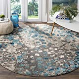 Safavieh Monaco Collection MNC225E Modern Boho Abstract Watercolor Area Rug, 5' Round, Grey/Light Blue