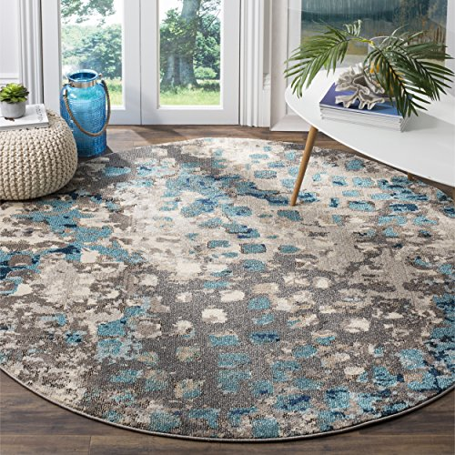 Safavieh Monaco Collection MNC225E Modern Abstract Grey and Light Blue Round Area Rug (5' in Diameter)