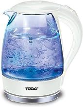Todo 1.7L Glass Cordless Kettle 2200W Blue Led Light Kitchen Water Jug White
