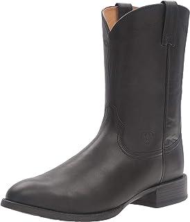 حذاء برقبة غربي عريض من Ariat Heritage Roper ذو مقدمة مربعة واسعة - حذاء رجالي تقليدي من الجلد الريفي