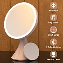 Babyltrl Lighted Makeup Mirror, 9 Inch Makeup Mirror Vanity Mirror with Bluetooth Speaker Function, 1X/5X Magnifying, 3 Color Lighting Modes and Brightness Adjustable Mirror with Lights