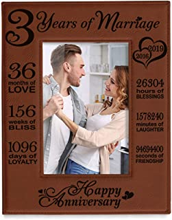 KATE POSH 2016-2019 Our 3rd Wedding Anniversary, 3 Years Anniversary, 3 Years of Marriage, Gifts for Couple, Third Anniversary - Engraved Rawhide Leather Picture Frame (5 x 7 Vertical)