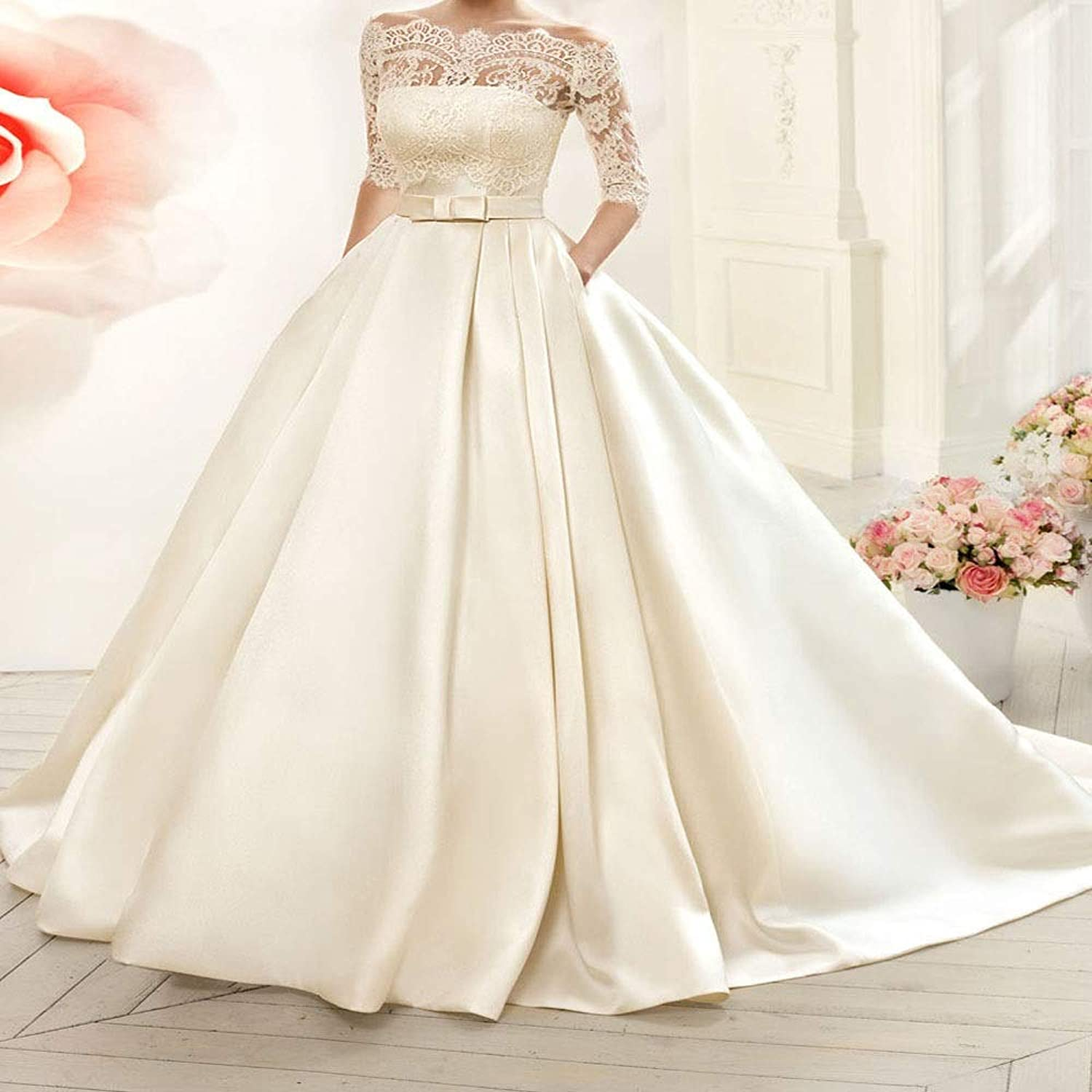 Women's Long Sleeves Wedding Dress Backless Lace Trailing Boat Neck Sweetheart Wedding