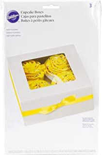 Wilton 415-1215 3-Pack 4 Cavity Cupcake Box, White