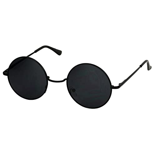 42b29ccd27d Basik Eyewear - Classic Round Metal Circle Lennon 60 s Style Vintage Hippy  Sunglasses