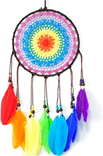 CHICIEVE Dream Catchers, Rainbow Feather Decor Wall Decor for Kids Boys Girls Bedroom - 7.8