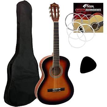 Tiger - Guitarra clásica, 3/4, para principiantes, acabado ...