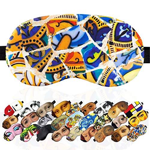 Sleep Mask Mosaic Gaudi Masterpieses for Women Men - 100% Soft Cotton - Comfortable Eye Sleeping Mask Night Cover Blindfold for Travel Airplane (Mosaic Gaudi, Gift Pack)