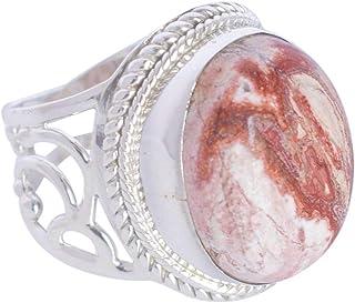 Ravishing Impressions Jewellery Anillo de plata de ley 925 maciza con jaspe de roseta natural, joyería hecha a mano, para ...