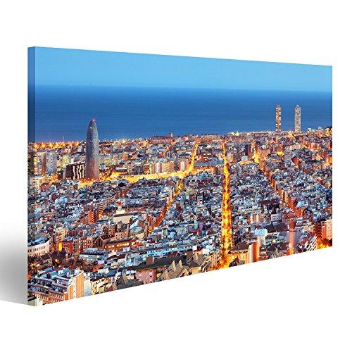 islandburner Cuadro Horizonte de Barcelona, Vista aérea en la Noche, España Impresión sobre Lienzo - Formato Grande - Cuadros Modernos JNU